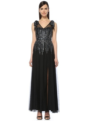 Aidan Mattox Uzun Abiye Elbise Siyah